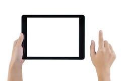 Mão que guarda a tela vazia da tabuleta Mão da mulher usando a tabuleta Fotos de Stock Royalty Free