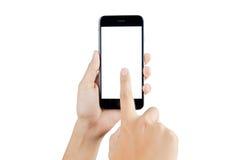 Mão que guarda a tela vazia do telefone esperto Imagem de Stock
