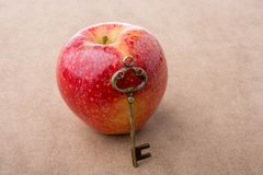 Mão que guarda uma chave ao lado de uma maçã Fotografia de Stock Royalty Free