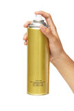 Mão que guarda uma lata de pulverizador Imagem de Stock