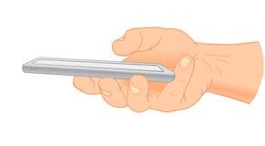 Mão que guarda a vista móvel, lateral Ilustração do vetor Fotos de Stock Royalty Free