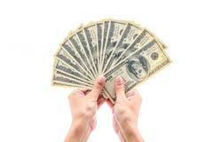 Mão que guardara cem dólares Imagens de Stock Royalty Free