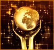 Mão que guardara nossa incandescência da terra do planeta ilustração do vetor