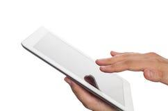 Mão que guardara o ipad imagens de stock
