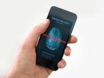 Mão que guardara o smartphone com aplicação móvel da segurança imagens de stock