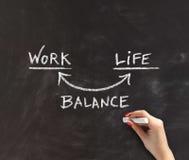 Mão que ilustra o equilíbrio da Trabalho-vida no quadro-negro imagem de stock royalty free