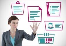 Mão que interage com os ícones do negócio vários Fotos de Stock