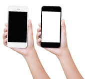 Mão que mantém o telefone isolado com trajeto de grampeamento Fotografia de Stock Royalty Free