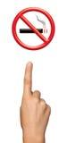 Mão que mostra a área não fumadores Fotografia de Stock