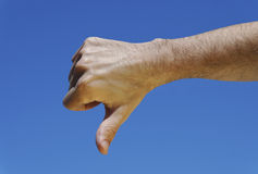 Mão que mostra o descontentamento Imagem de Stock