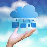 Mão que mostra o diagrama de computação da nuvem 3d Foto de Stock Royalty Free