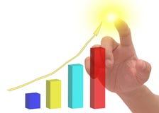 Mão que mostra o gráfico Imagens de Stock