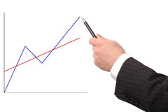 Mão que mostra o gráfico isolado Imagem de Stock