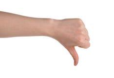 Mão que mostra o polegar isolado para baixo sobre o branco Fotos de Stock