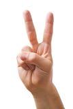 Mão que mostra o sinal de V Fotografia de Stock