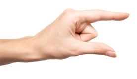 Mão que mostra o tamanho pequeno Foto de Stock