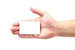 Mão que mostra um cartão Fotografia de Stock