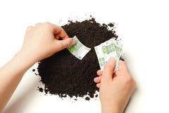 Mão que planta euro- notas de banco Fotos de Stock