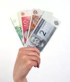 Mão que prende o dinheiro estónio imagem de stock royalty free