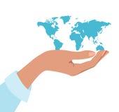 Mão que prende o mundo Foto de Stock Royalty Free
