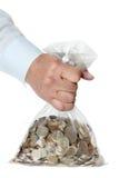 Mão que prende um saco do dinheiro Imagens de Stock Royalty Free
