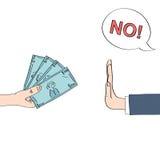 Mão que rejeita o dinheiro que descreve o conceito anticorrupção Fotos de Stock Royalty Free