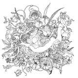 Mão que tira o cartouche heráldico Rebecca 36 Mandala da flor ilustração royalty free