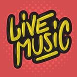 A mão relacionada do partido de Live Music Concert Dj Set tirada escova a rotulação do tipo gráfico da caligrafia de vetor do pro ilustração stock