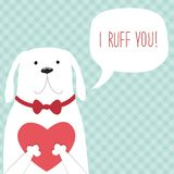 Mão retro bonito o cartão tirado do dia do ` s do Valentim como o cão engraçado com coração e o discurso borbulham Fotografia de Stock