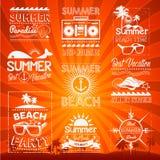 Mão retro elementos tirados para o verão caligráfico Imagens de Stock Royalty Free