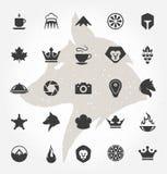 Mão retro objetos e projeto tirados do vetor dos ícones Foto de Stock Royalty Free
