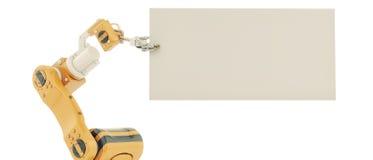 Mão robótico com placa vazia Foto de Stock