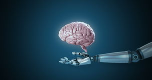 Mão robótico que apresenta o cérebro humano digital ilustração do vetor