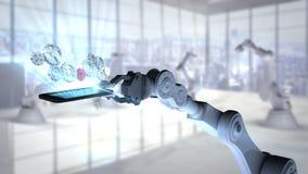 Mão robótico que apresenta o telefone celular iluminado com ícones da engrenagem ilustração do vetor