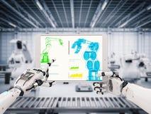 Mão robótico que trabalha com tabuleta digital ilustração stock