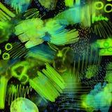 A mão 80s e 90s geométrica abstrata tira o teste padrão no fundo preto Teste padrão da pintura da escova da aquarela Teste padrão Imagens de Stock