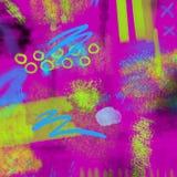 A mão 80s e 90s geométrica de néon abstrata tira o teste padrão do encanto com cores dos néons Encanto de néon da pintura da esco Fotografia de Stock