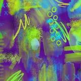 A mão 80s e 90s geométrica de néon abstrata tira o teste padrão do encanto com cores dos néons Encanto de néon da pintura da esco Fotografia de Stock Royalty Free