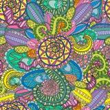 Mão sem emenda decorativa colorida teste padrão decorativo tirado do vetor da onda da natureza da garatuja Foto de Stock