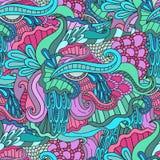 Mão sem emenda decorativa colorida teste padrão decorativo tirado do vetor da onda da natureza da garatuja Foto de Stock Royalty Free