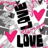 A mão sem emenda dos grafittis do amor rotulou o texto, pri tipográfico do estilo ilustração royalty free