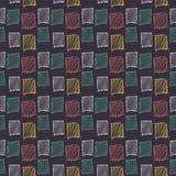 Mão sem emenda geométrica abstrata teste padrão tirado Textura moderna da carta branca Fundo geométrico colorido da garatuja esbo Foto de Stock