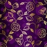 Mão sem emenda ouro desenhado filigree com rosas Imagens de Stock Royalty Free