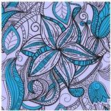 Mão sem emenda teste padrão floral desenhado Fotos de Stock Royalty Free