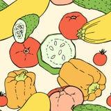 Mão sem emenda teste padrão tirado com vegetais Imagens de Stock