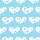 Mão sem emenda teste padrão tirado dos corações Projeto agradável da tinta para o t-shirt, vestido, panos ilustração royalty free