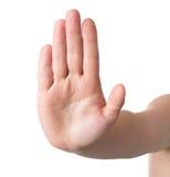 A mão simboliza a parada Imagens de Stock