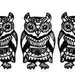Mão simples teste padrão azul preto tirado de Owl Sketch Fotografia de Stock Royalty Free
