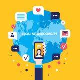 Mão social do homem de negócios do conceito da rede com elementos infographic espertos móveis de uma comunicação global do telefo ilustração stock