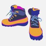 Mão tirada caminhando o esboço do vetor das botas Ilustração do Vetor
